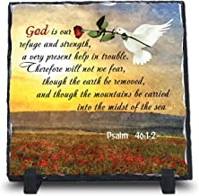 God Is Our Refuge And Strength, A Very Present Help Psalm 46:1-2 (7.5X7.5, KJV) | Superior Religious Inspirational Home Décor Christmas Gifts Slate | Christian Home Plaque Stone Gift