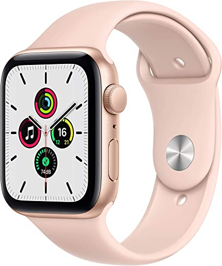 Apple Watch SE (GPS, 44mm) – Gold Aluminium Case with Pink Sand Sport Band
