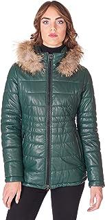 D'Arienzo Piumino in Pelle Donna Invernale Verde con Cappuccio Pelliccia Cappotto Vera Pelle Made in Italy Ladies