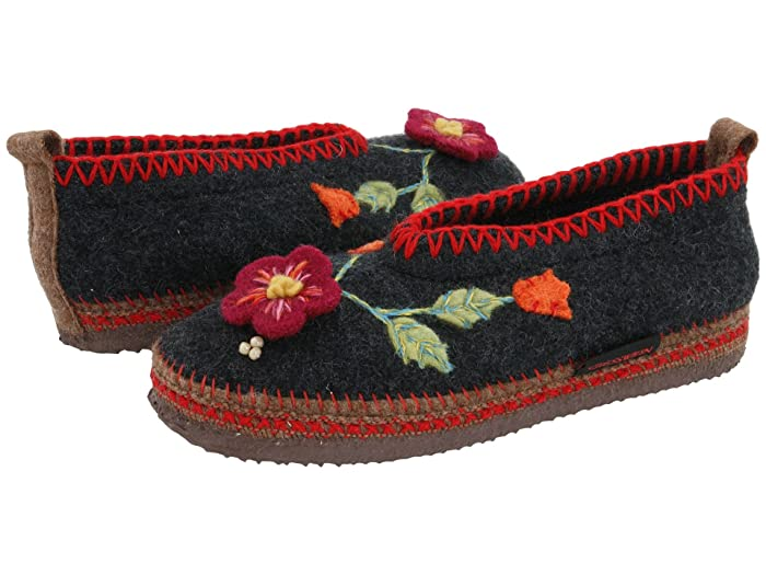 Retro Vintage Flats and Low Heel Shoes Giesswein Spital Charcoal Womens Slippers $115.95 AT vintagedancer.com
