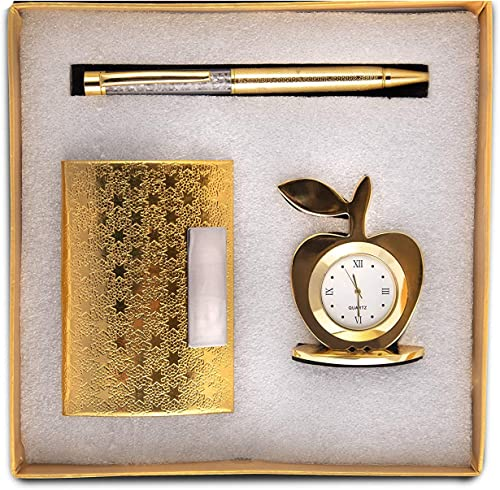 Msa Jewels 3 in 1 Gift Set with Apple Clock, Crystal Pen, Business Card Holder (Golden)
