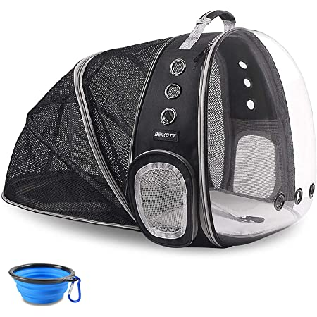 BEIKOTT Cat Backpack Carriers, Foldable Pet Bubble Backpack Carriers for Cats Puppy Dogs and Birds, Airline-Approved, Ventilate Transparent Capsule Carrier Backpack for Travel, Hiking and Outdoor Use