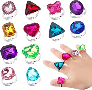RICHNESS Adjustable Little Girl Jewel Rings Kids Gift Play Rings Multi Shapes Colorful Princess Pretend Jewel Rings Box Packed 12pcs