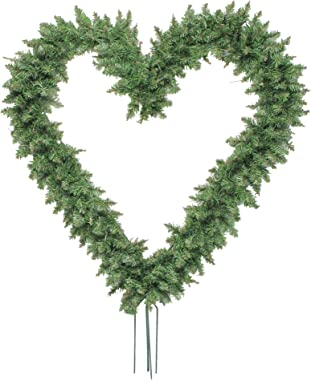 """Northlight Pine Heart Shape Wreath with Ground Stakes, 22"""", Green"""