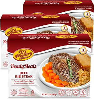 Kosher MRE Meat Meals Ready to Eat, Beef Rib Steak & Kugel (3 Pack) - Prepared Entree Fully Cooked, Shelf Stable Microwave...