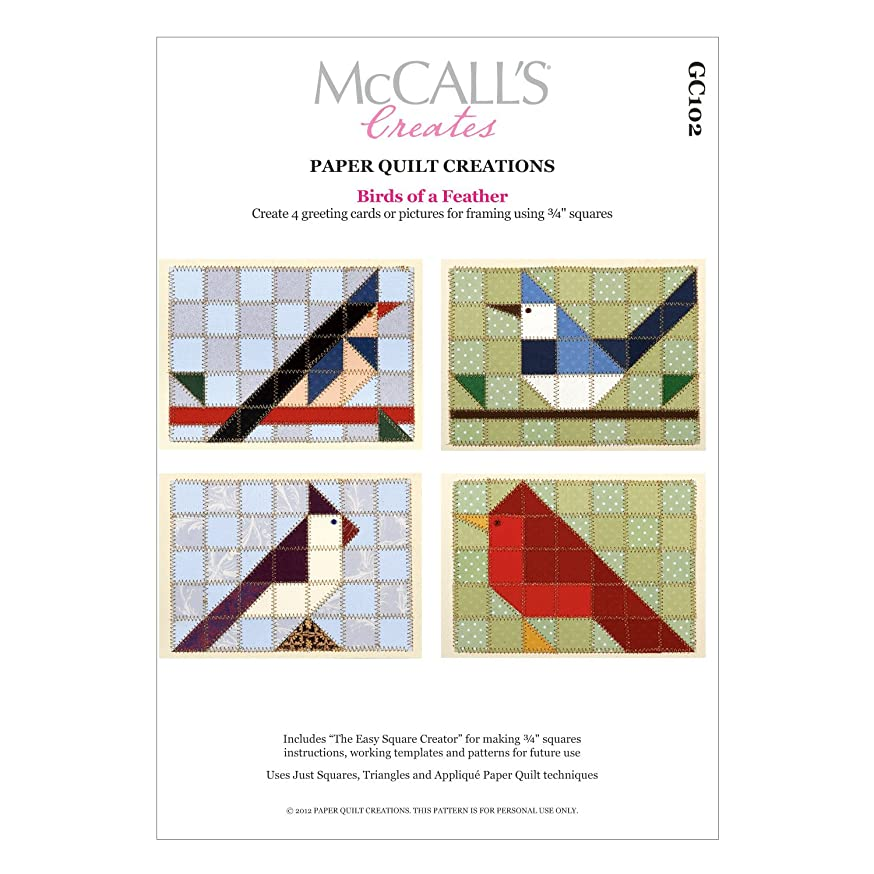 McCall's Creates W10603 Paper Quilt Creations Craft Pattern, Birds of a Feather Gift Card