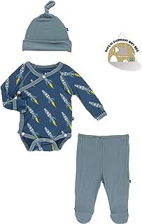 0-3 Months, Neptune Ginkgo KicKee Pants Kimono Newborn Gift Set with Elephant Box
