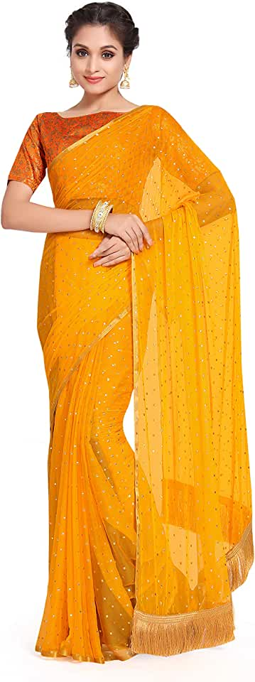 Indian Womanista Women's Jacquard Georgette Saree with Blouse (TI1184_Yellow_One Size_Yellow) Saree