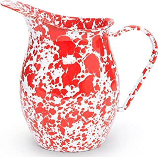 Enamelware Small Pitcher - Red Marble