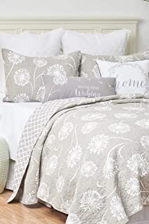 C&F Home Guinevere King Quilt Set Oversized Reversible Cotton Flower Spring Summer Bedspread Coverlet 3 Piece with Shams King 3 Piece Set Gray and White