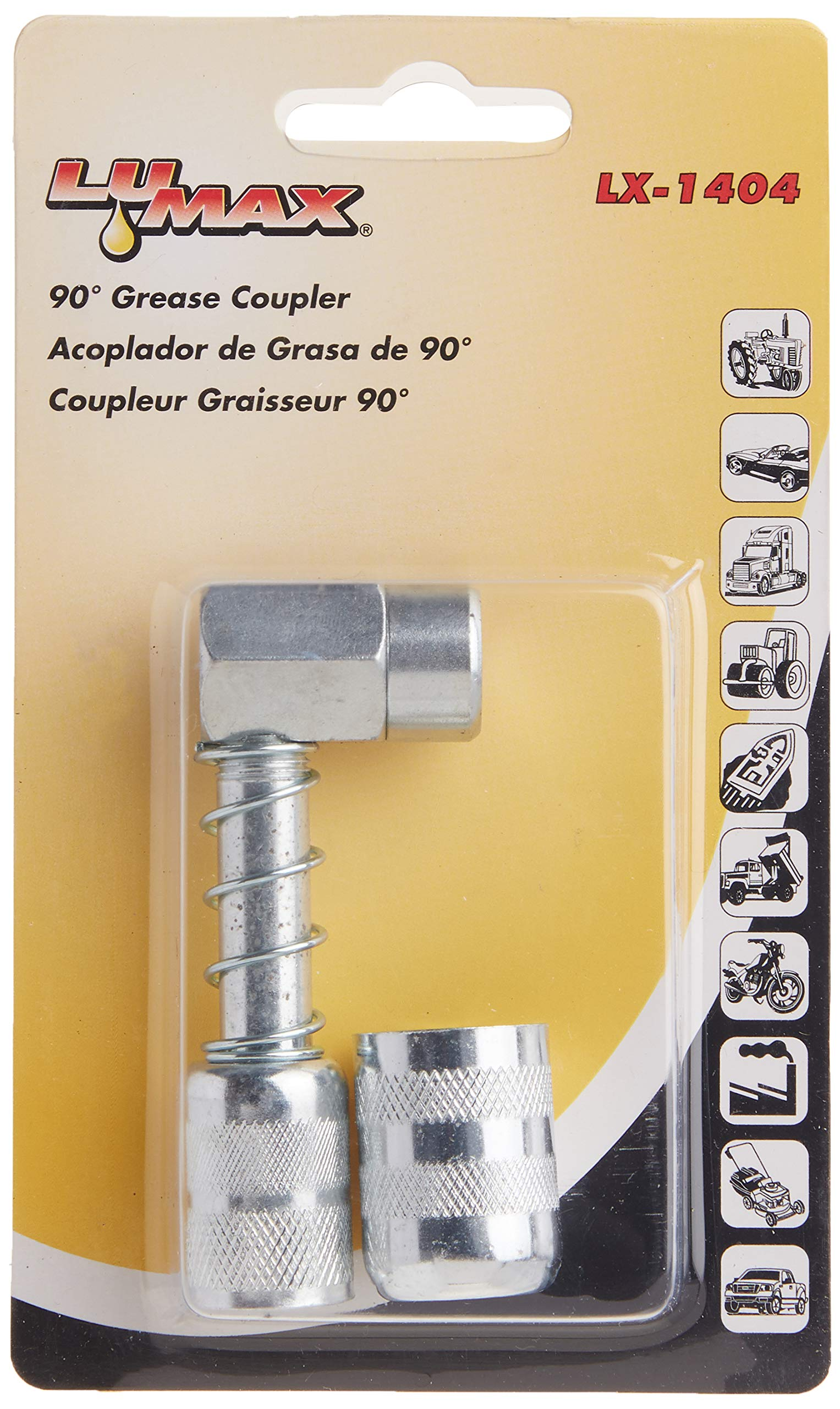 Lumax LX-1404 Silver 90 Degree Grease Coupler for Hard-to-Reach Grease Fittings on Cars, Trucks, Farm Equipment. Ideal for Lubrication of Front and All-Wheel Drive Vehicles.