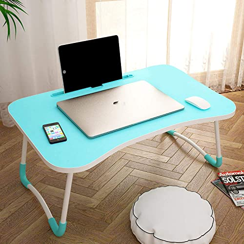 DK HOME APPLIANCES foldable portable adjustable multifunction laptop study lapdesk table for breakfast on bed couch sofa floor with cup slot and tablet ipad notebook holder stand Sky Blue