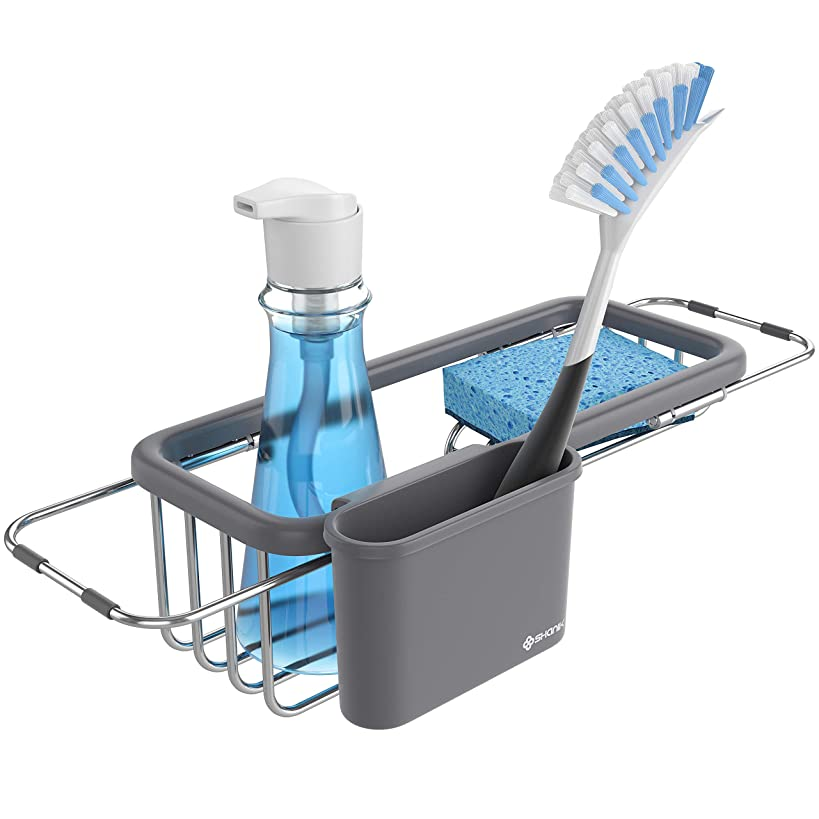 Shanik Premium Quality Sink Organizer - Soap and Sponge Holder for the Kitchen Sink, Sponge Rack with Rack and Cup for Kitchen Sink Accessories, Adjustable Length 11.8 Inch to 16.8 Inch