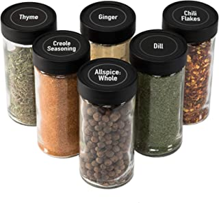 AllSpice 4 Ounce Glass Spice Jars (Same Size as Penzeys and Spice House) with Black Plastic Lids and 3 Styles of Shaker Tops- 6 Pack
