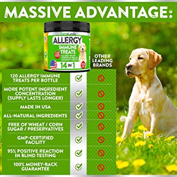 FurroLandia Allergy Relief Immune Supplement for Dogs - Seasonal & Food Allergies - Skin Itch, Hot Spots and More - S...