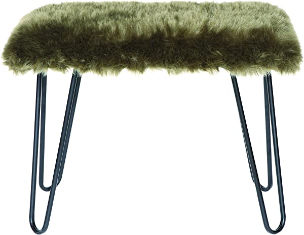 Creative Co Op Metal Bench With Green Faux Fur Seat