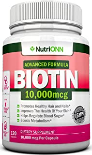 BIOTIN 10,000 MCG - 120 Capsules - Designed for Hair Growth, Strong Nails and Healthy Skin - Pharmaceutical-Grade Natural ...
