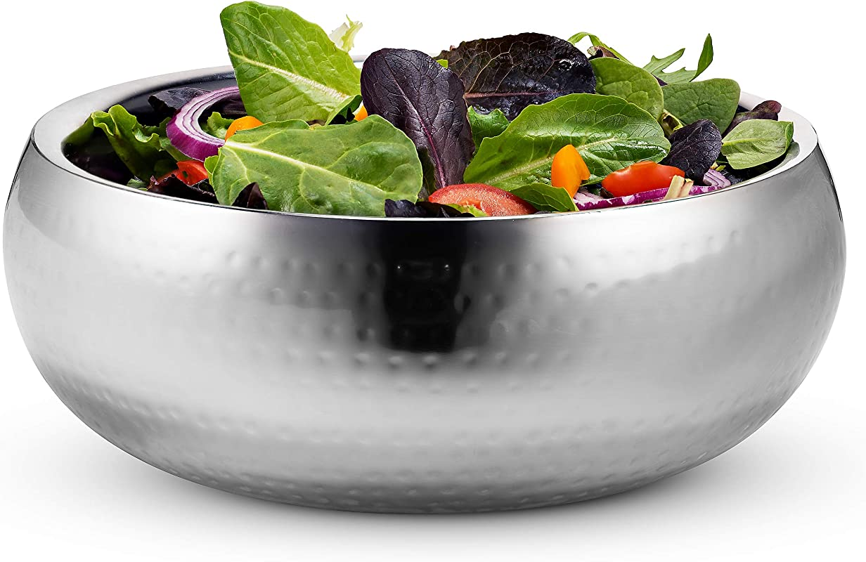 KooK Double Wall Serving Bowl 11 Inch Hammered Style Stainless Steel Soup Cooked Food Salads Fruit