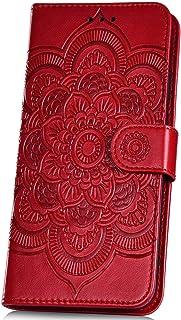 JAWSEU PU-läderfodral kompatibel med 7A, flip plånbok magnetiskt folio stående fodral med präglad mandala blommor design k...