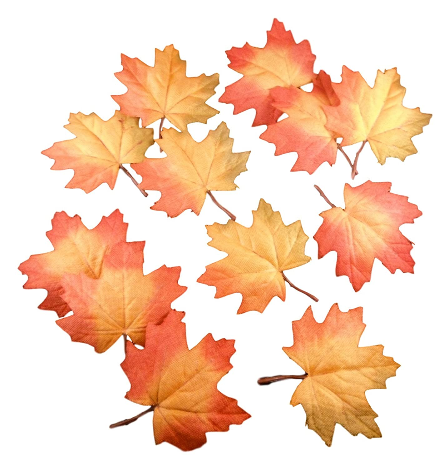 Harvest Craft Leaves - Artificial Floral Decor Foliage Packs (Textured Maple Leaf - 12 Pack)