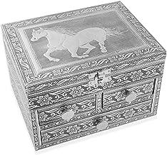 Aluminium Oxidized Embossed 3 Tier Slide Jewelry Organizer Box(Elephant/Horse/Flower/Mandala)
