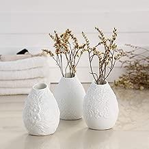 White Ceramic Vase - Bud Vase Set of 3 with Different Embossed Design Flower Vase Decor Home White Vase Ideal Gift for Friend Family or Party