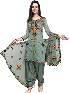 2da953997d EthnicJunction Holi Special Rajasthani Mirror Work Chanderi Embroidery  Unstitched Salwar Kameez Dress Material (EJ1180-