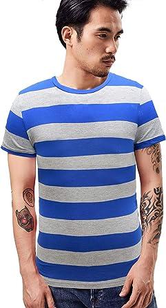 Wide Striped T Shirt for Men Breton Tee Stripes Sailor Top Cotton Basic Short Sleeve for Summer Beach