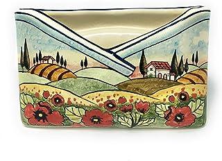 CERAMICHE D'ARTE PARRINI- Ceramica italiana artistica, portalettere decorazione paesaggio papaveri, dipinta a mano, made i...