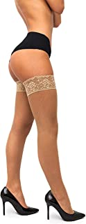 Fishnet Thigh-High Stockings - Lace Top Lingerie [Made In Italy]
