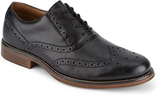 Mens Thatcher Polished Business Dress Black Wingtip Lace-up Oxford Shoe