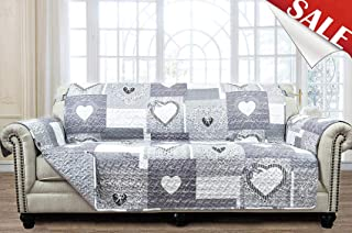 Large Patchwork Sofa Protector Slipcover 78 Inch Heart Love Pet Dog 3 Seat Couch Furniture Cover Print Reversible Quilted Layers, Strap, Machine Wash Arm Chair Slip Cover, Grey/White