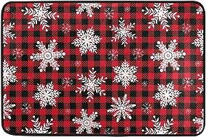 Christmas Snowflake Red Buffalo Plaid Door Mats Xmas Tree Winter Floor Mat Indoor Outdoor Entrance Bathroom Doormat Non Slip Washable Snowman Welcome Mats Home Merry Christmas Decor 23.6 x 15.7 inch