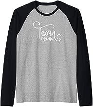 Texan Mama Cute Fancy White Script Design Mom Mother Texas Raglan Baseball Tee