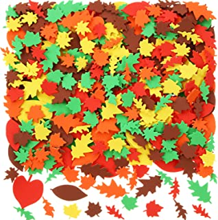 Blulu 900 Pieces Fall Leaf Stickers Adhesive Foam Maple Leaves Stickers Assorted Leaf Shapes Stickers for Kid's Art Craft Halloween Thanksgiving Party Decoration