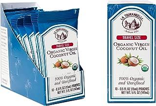 La Tourangelle Organic Virgin Coconut Oil Pouches, 0.5 fl. oz., 3-Carton Pack (30 pouches), Convenient Single Serve, Travel Size Oil Packets for On-the-Go, 30 Count