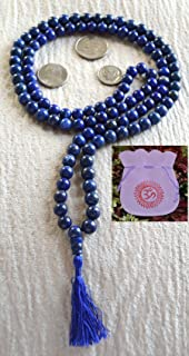 LAPIS LAZULI APPROX 6.5 MM 108 BEADS JAPA MALA NECKLACE. BLESSED & ENERGIZED TOP GRADE GENUINE QUALITY TIBETAN BUDDHIST PR...
