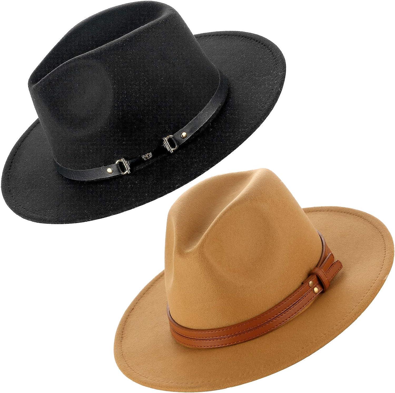 XANNOU 2 PCS Fedora Hats for Women, Wide Brim Fedora Hat with Belt Buckle Felt Panama Hat for Women Girls