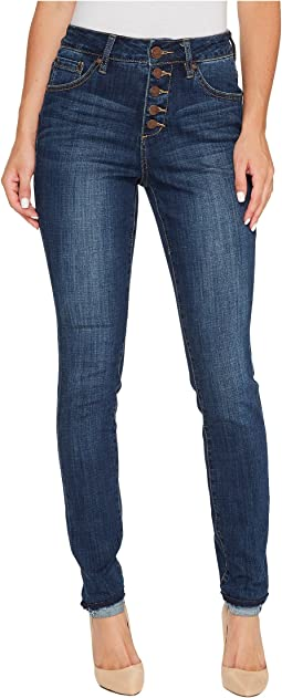 Gwen Skinny High-Rise Jeans in Crosshatch Denim in Thorne Blue