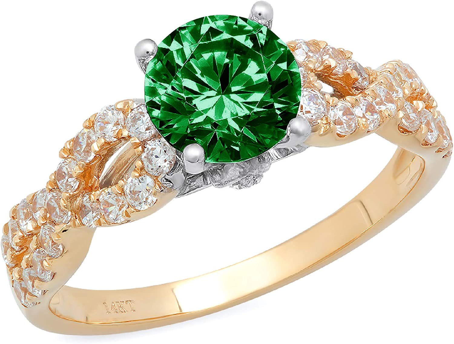 1.32ct Brilliant Round Cut Solitaire Low price Flawless Safety and trust Green CZ Simulated