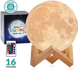 3D Moon Lamp - Rechargeable Night Light,16 LED Colors, Dimmable, (Standard, 4.7in) with Wooden Stand, Remote & Touch Control - Nursery Decor for Your Baby, Birthday Gift Idea for Women