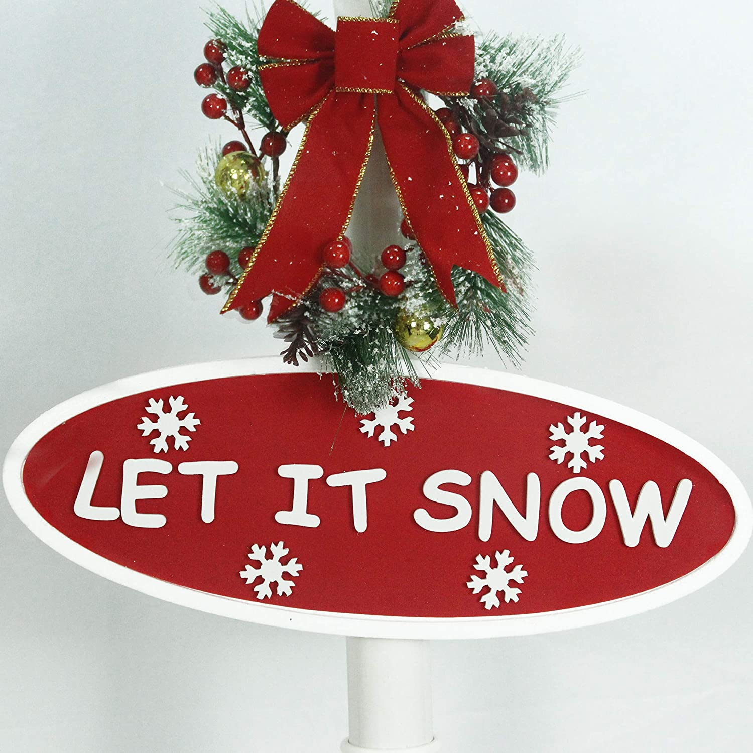 71 Inch Fraser Hill Farm Let Series 71 Street Lamp Christmas Tree Cascading Snow 2 Signs and Holiday Music Black with Trio Scene