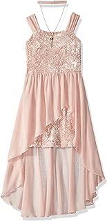 Girls' Big Embossed Velvet Dress with Chiffon Overlay