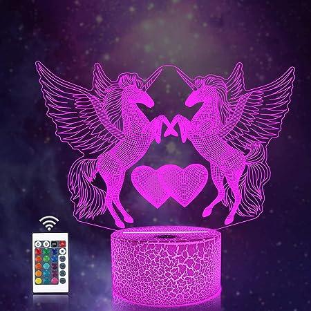 CooPark Veilleuse Licorne 3D pour Enfants, Fille Lampe LED USB Veilleuse Illusion, 16 Couleurs Changeantes avec Télécommande pour Enfants Adultes Cadeau d'anniversaire et de vacances