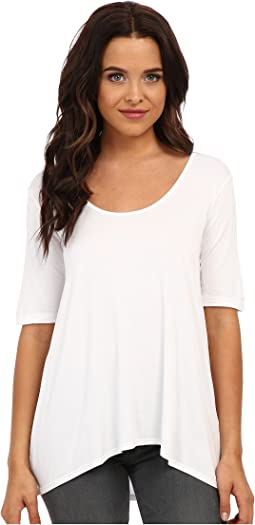 Three Dots - 1/2 Sleeve Relaxed High Low Tee