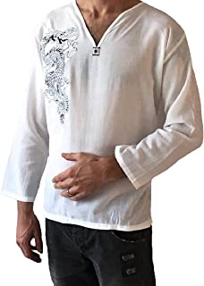 Love Quality Men's White Dragon Shirt 100% Cotton Hippie Top