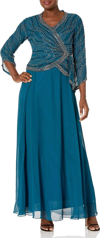 J Kara Women's 3/4 Sleeve V-Neck Beaded Faux Wrap Long Dress