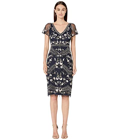 Adrianna Papell Floral Beaded Flutter Sleeve Cocktail Dress (Midnight Multi) Women