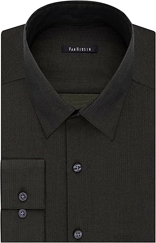 Van Heusen Men's Slim-Fit Long Sleeve Patterned Dress Shirt, Greenfield