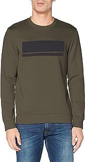 BOSS Mens Salbo 1 Slim-fit Sweatshirt in Interlock Fabric with Block Logo